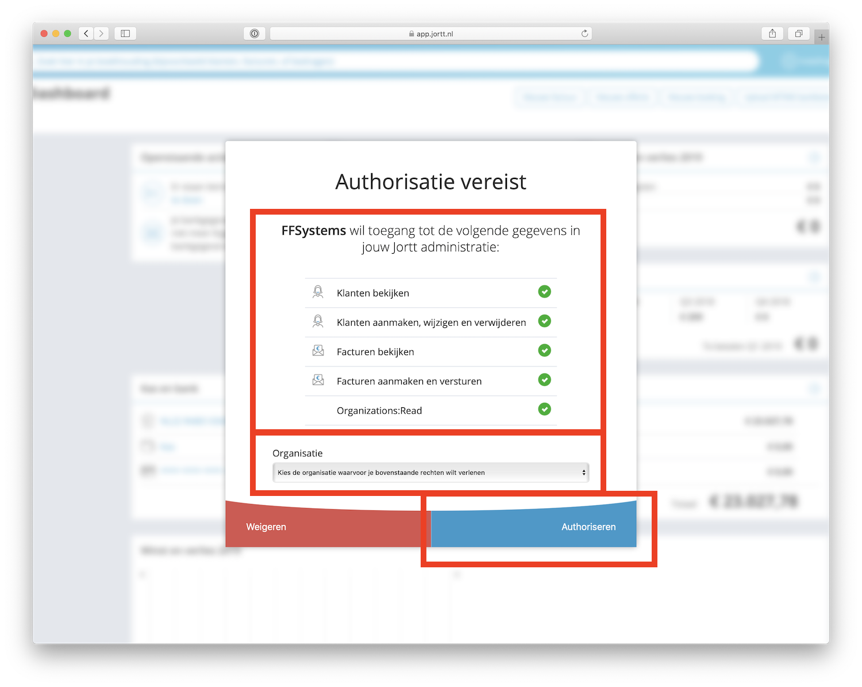 Jortt koppelen aan FFSystems - authoriseren